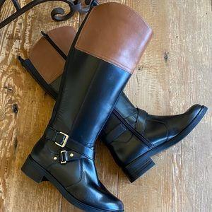 Bandolino Leather Knee High Two Tone Bootd
